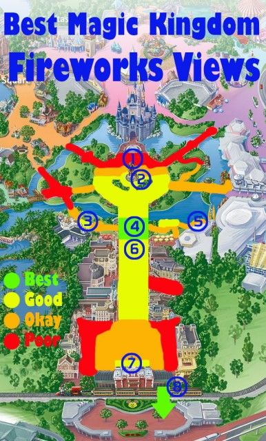 Map of the best Magic Kingdom Fireworks Views(plus sample photos from those locations in the blog post)