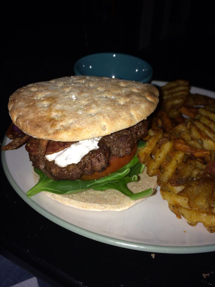Burger night! Grilled burger with goat cheese, spinach, onion ...