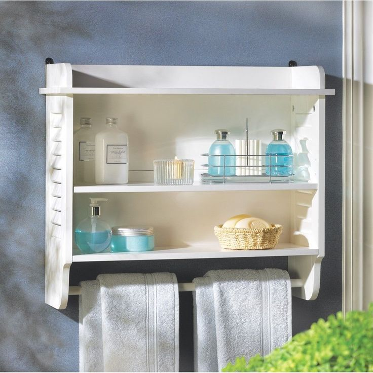 nantucket bathroom wall white louvered shelf towel hanger decor new