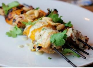 Chicken & Apricot Skewers with Coconut, Peanut, Lime, and Cilantro ...
