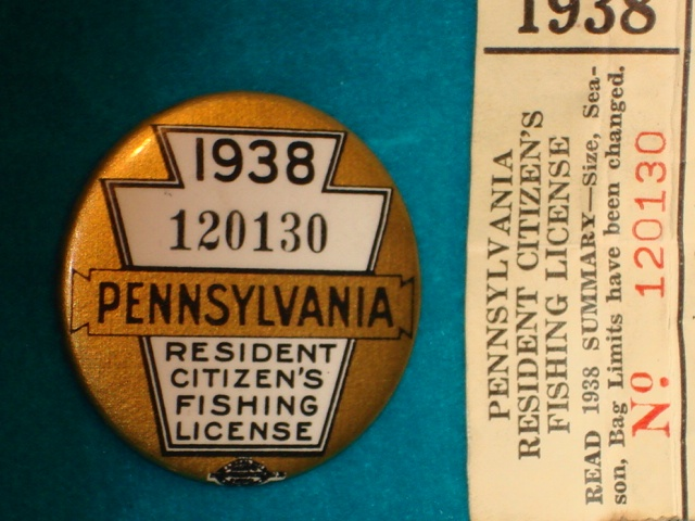 Vintage fishing licenses 1938 pa vintage and for How much is a pa fishing license