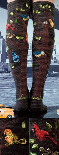 """Bird Legs   Vogue Knitting - Winter 2011 (okay, so I could only wear them on """"Silly Sock Day"""", but still!!)"""