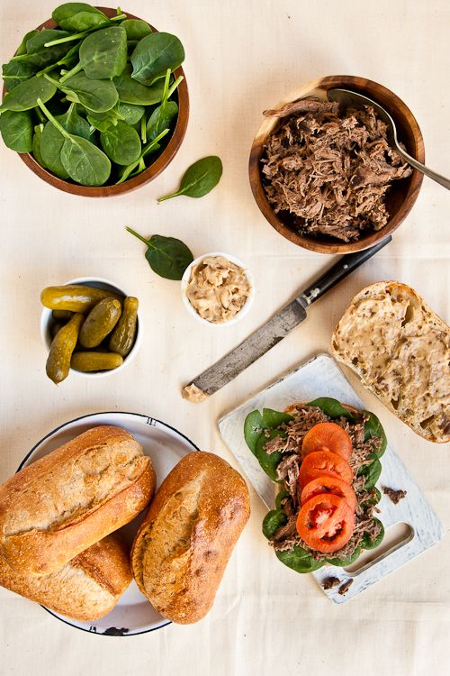 slow cooker pulled lamb sandwich with caramelized onions   Indian ...