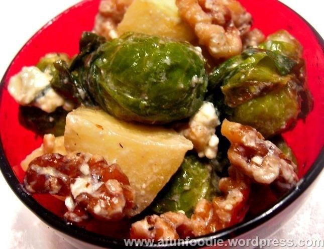 Roasted Brussel Sprout and Apple Salad with Bleu Cheese and Walnuts