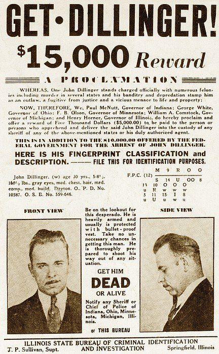Similiar Most Wanted John Dillinger Poster Keywords – Wanted Criminal Poster