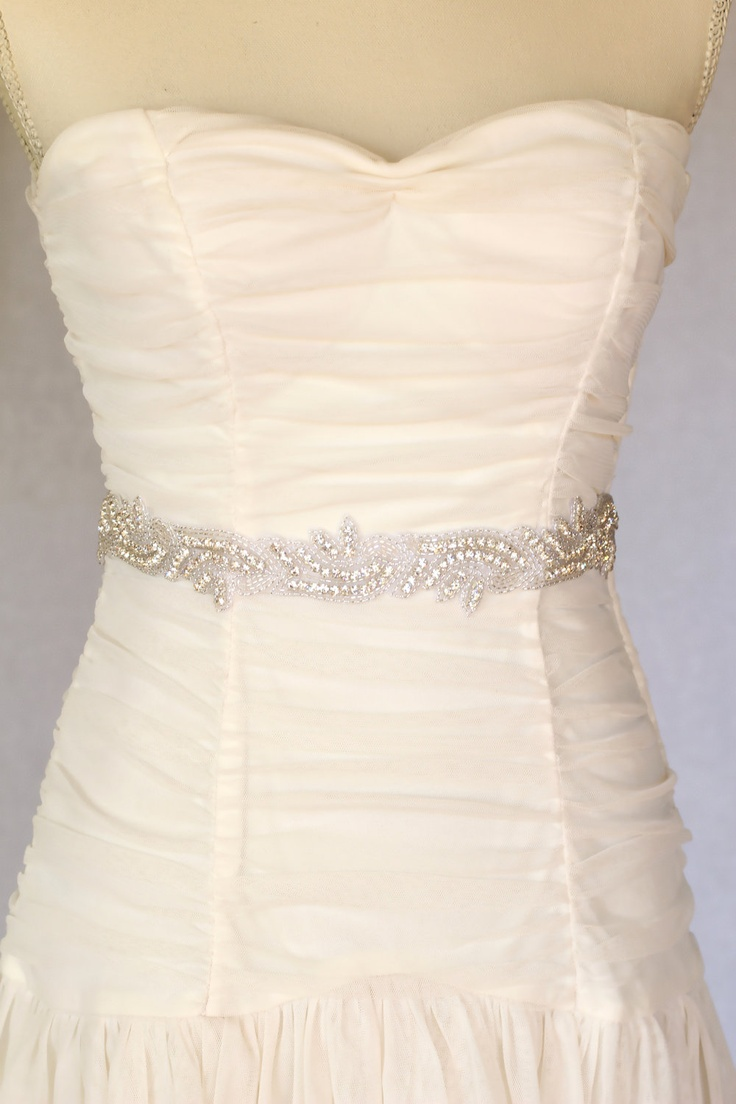 Maria - Rhinestone beaded bridal belt  sash, wedding sash belt, bridal accessories, crystal belt sash. $74.00, via Etsy.