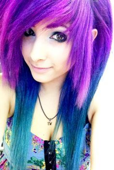 scene girls with purple and black hair  dip dyed hair colored