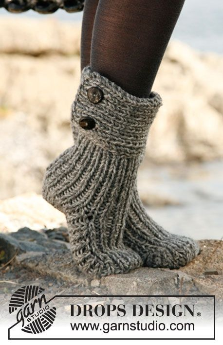 Knitted DROPS slippers My Style Pinterest