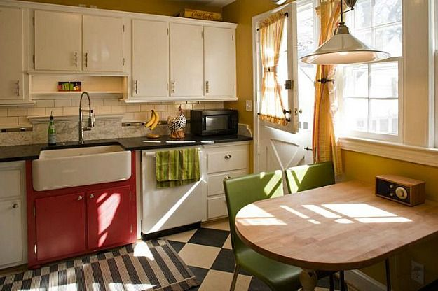 Amy 39 S White Cottage Kitchen Farm Sink Accented With Red Cabinets