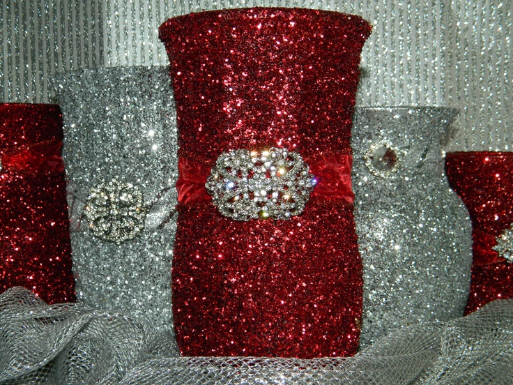 Pinterest discover and save creative ideas - Red and silver centerpiece ideas ...