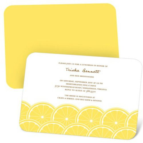lemon bridal shower invitations