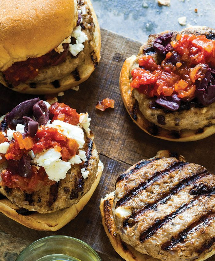 Feta, olive, and tomato jam topped turkey burgers, from THE GRILLING ...