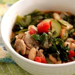 ... basil chicken sausage, kale, white bean, zucchini, tomato based stew