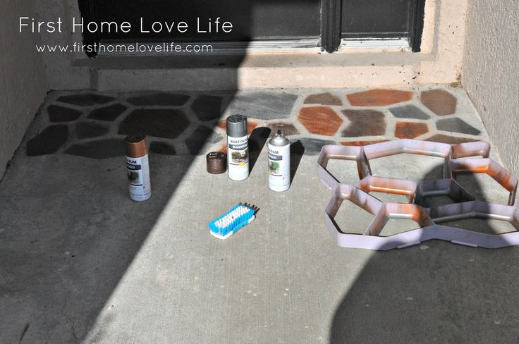 faux flagstone - paint on concrete using a paver mold for a stencil ...
