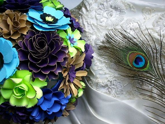 Peacock Inspired Wedding Bouquet  Customize by DragonflyExpression, $125.00