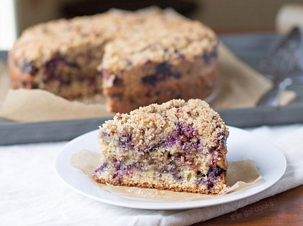 Blueberry Sour Cream Coffee Cake on This Gal Cooks