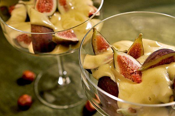 Hazelnut-sherry zabaglione over figs. (Bob Chamberlin / Los Angeles ...