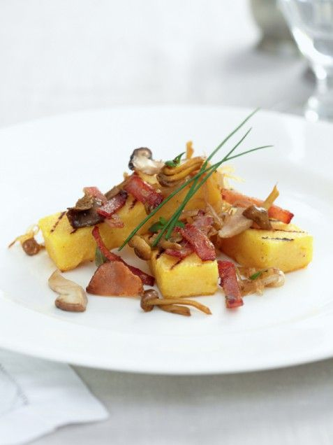 Grilled Polenta with Wild Mushrooms, Bacon, and Thyme | Recipe