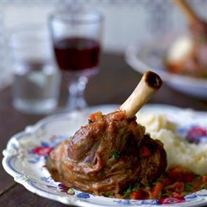 Beer-braised lamb shanks Recipe | delicious Magazine
