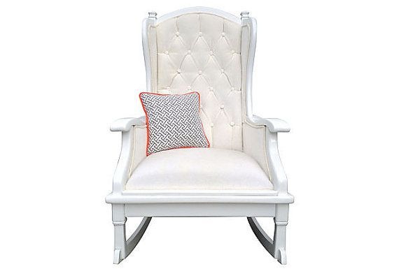 Upholstered Painted Rocker Rocking Chair Tufted Vintage French Faux M ...
