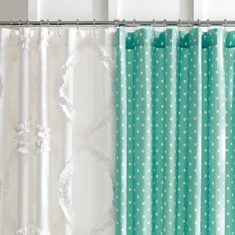 Aqua Dottie Shower Curtain   PBteen   Princess & Teen Diva's Glam Roo…