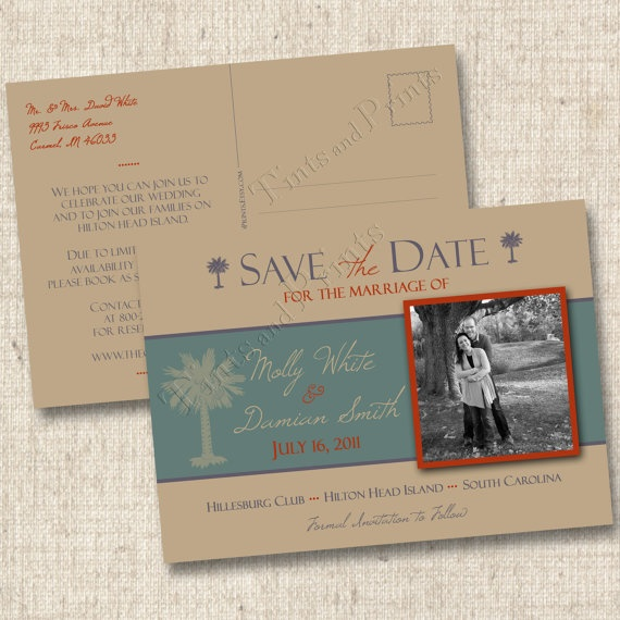 destination wedding save the date postcard double sided choose your