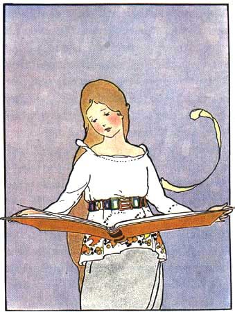 "Margaret Evans Price in ""Once Upon a Time: A Book of Old-Time Fairy Tales."" Chicago: Rand McNally & Company, 1921.  Art, posters and prints of a woman or women reading repinned by www.AboutHarry.com"