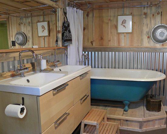 Half wall in bath of corrugated metal corrugated metal for Corrugated iron bathroom ideas