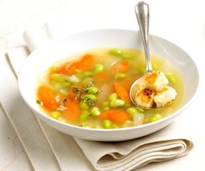 Edamame Soup with Feta Croutons | Recipe