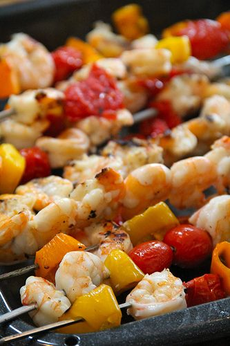 Marinated Shrimp Skewers with Sweet Peppers, Cherry Tomatoes, Fresh ...