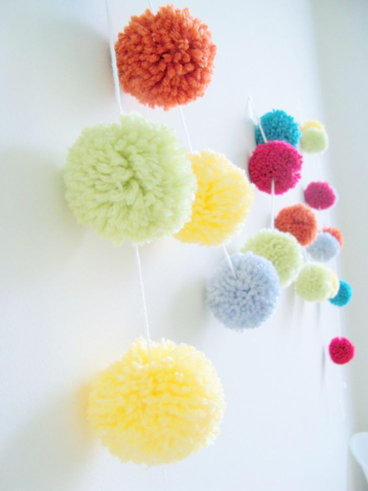 celebrate party yarn pom pom garland for party decor. Black Bedroom Furniture Sets. Home Design Ideas