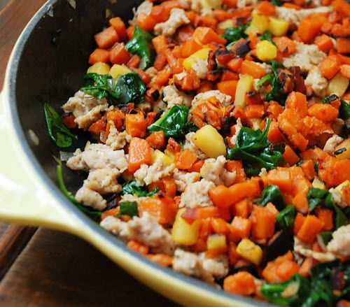 Skillet Sweet Potato, Sausage, and Spinach Hash | food | Pinterest