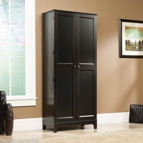 New Sauder Tall Storage Clothes Cabinet Organizer Kitchen Pantry Esta