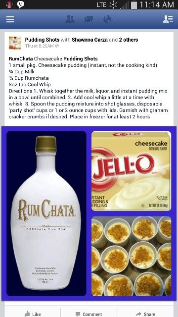 Rum chata cheesecake pudding shots | All thing alcohol | Pinterest