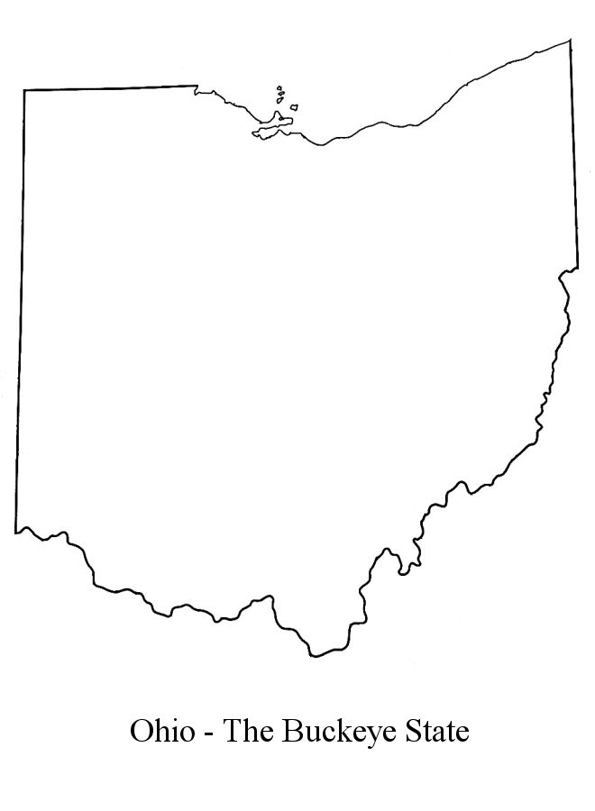 Western united states river map on ohio state border outline map