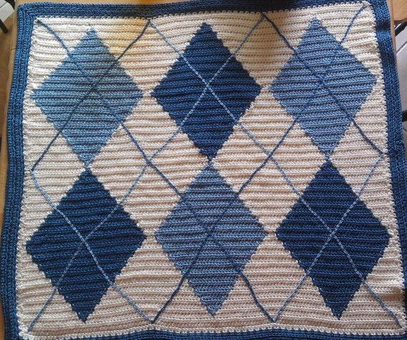 Argyle Crochet Afghan Pattern : Custom Argyle Baby Blanket - Handmade Crochet Diamond ...