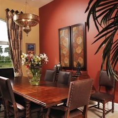 Bold color accent wall in dining room quaker ridge for Bold dining room colors