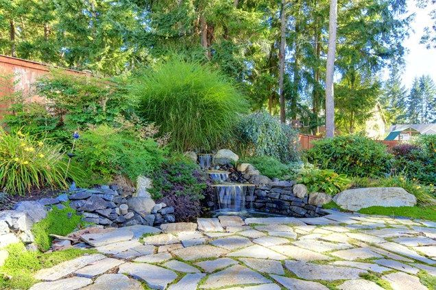 Backyard Hill Erosion : pond ideas with waterfall hill side  Tiered Backyard Waterfall Pond