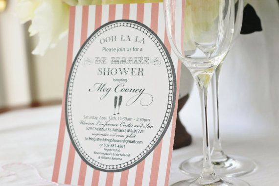 French Themed Bridal Shower Invitation DYI Printable by IzzyDesignsLLC ...