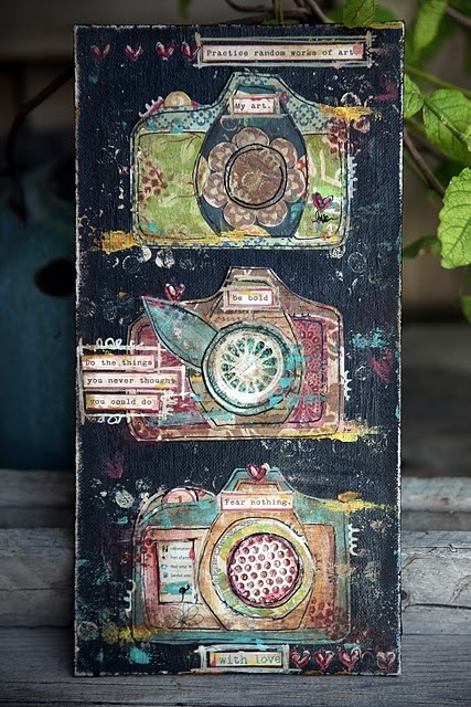 Cute cameras, mixed media on canvas