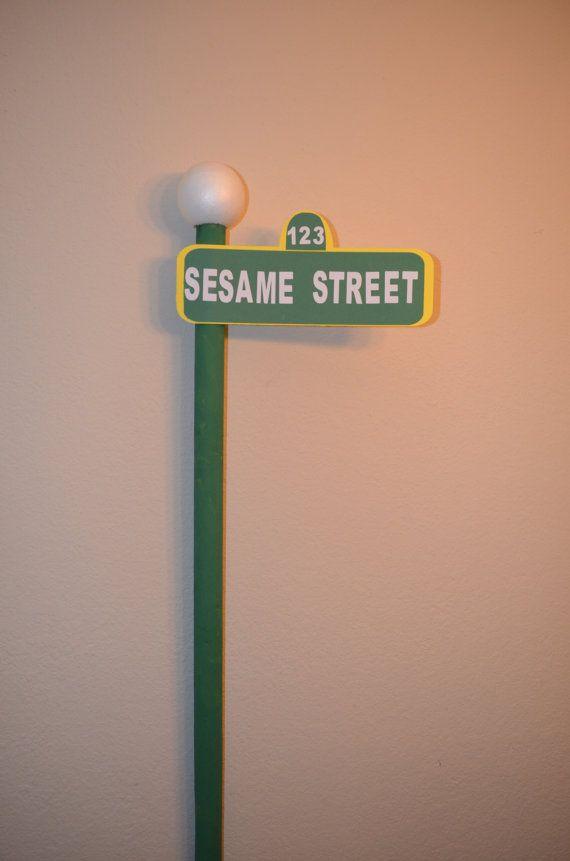 sesame street paper sign no pole included. Black Bedroom Furniture Sets. Home Design Ideas