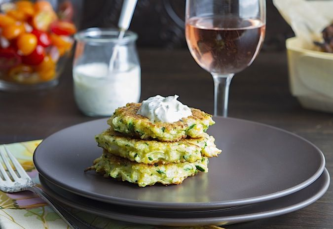 zucchini pancakes with minty dill creme fraiche