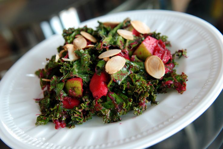 Creamy Raw Kale Salad with Avocado, Apple and Beet