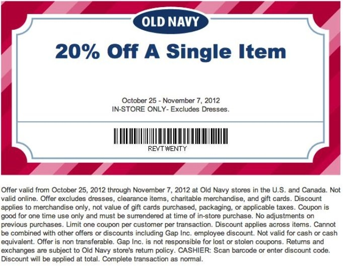 Old Navy frequently offers an extra 20% or 30% off your entire purchase. Most of the time, no coupon code is required. To see current available offers, go to the Old Navy site and click on