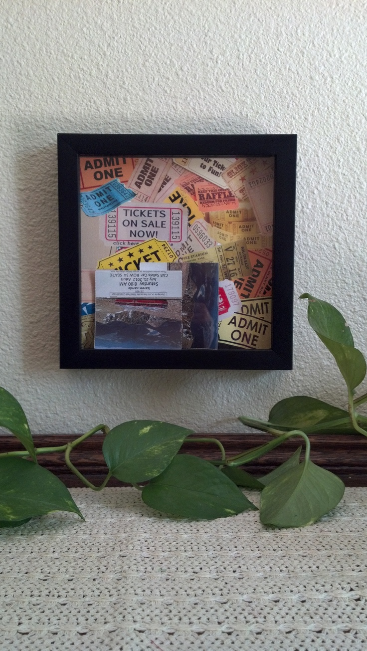 Shadow box memories - I used a shadow box, backed with a images of tickets. Then I cut a slot in the top to deposit tickets from places I've visited