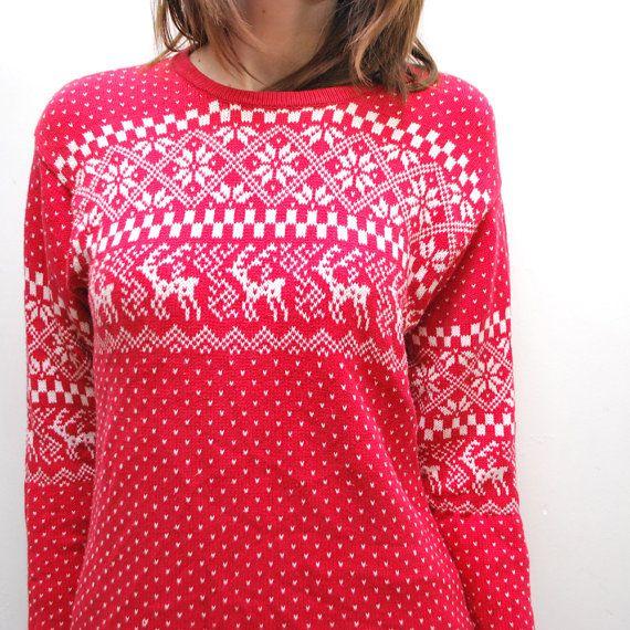 90s knit DEER sweater. long folk sweater. Nordic sweater - small, med
