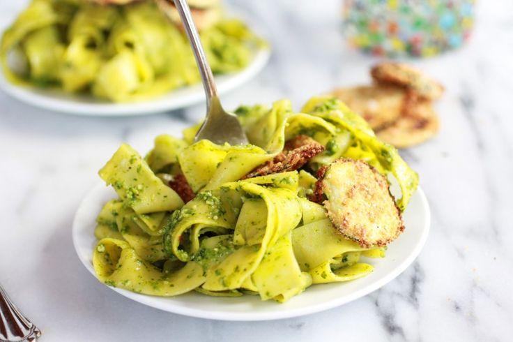 Fried Zucchini and Mint Pistachio Pesto Pappardelle Pasta | Recipe