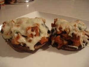 Portobello Mushrooms Stuffed with Sausage, Spinach, and Cheese