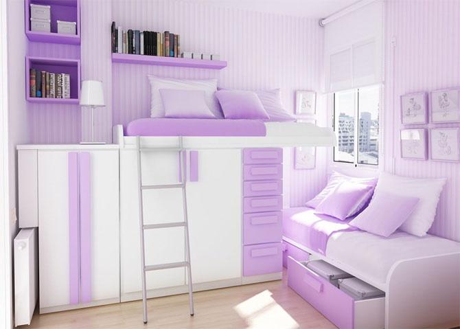 Minimalist Purple Teenage Bedroom Design