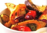 Rustic roasted ratatouille and potato wedges with smoked paprika and ...